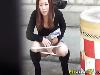 Secretly Watched Asians Pee Outdoors