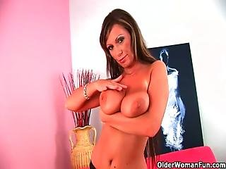 Soccer Mom With Big Tits Fucks A Dildo