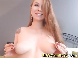 Gorgeous Redhead Huge Dildo Penetration
