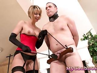 Cougar Enjoys Torturing Her Male Slave