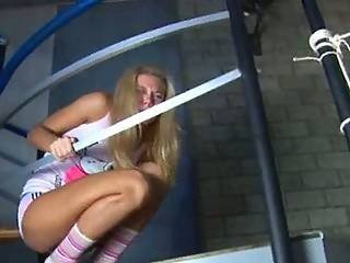 Blonde Girl Fucked On The Stairs