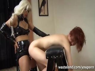 Lesbian Mistress Bends Her Slave Girl Over For Deep Strap On Fuck