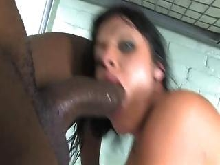 Brunette Orgasmic And Hysterical With Two Big Black Cock