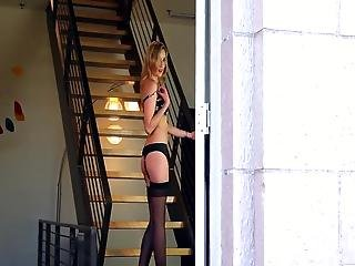 Backstage Vid Of Emily Rose  Teasing Naked Onto A Stairs