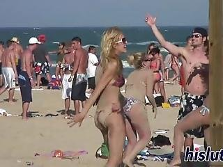 Group Of Luscious Bimbos Started Acting Rather Naughty During A Fantastic Beach Party
