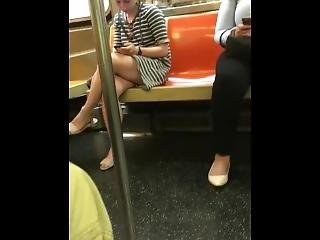 Great Sexy Legs On Train.