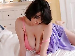 Sexy Big Titted Brunette Striptease