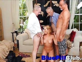 Slutty Teenager Babe Raylin Ann Gang Banged By Three Old Grandpas