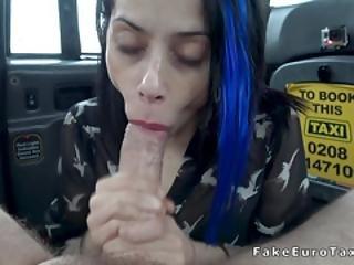 Petite Brunette Masturbates In Fake Taxi