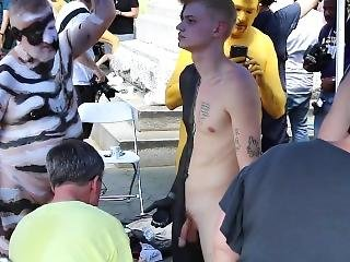 Young Boy Naked Body Paint In Public