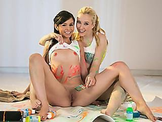 Painting Leads Into A Hot Pussy Licking With Samantha And Taylor