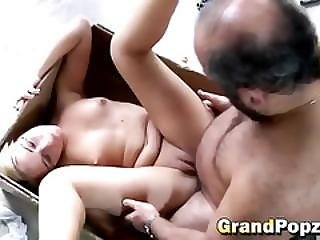 Sexy Blonde With Glasses Pleases Old Guy Cock