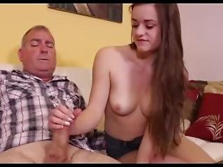 Thick Daddy Gets Handjob From Teen