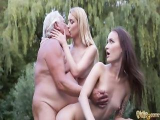 Horny Teens Fucked Together Fat Old Grandpa Hard And Make Him Cum