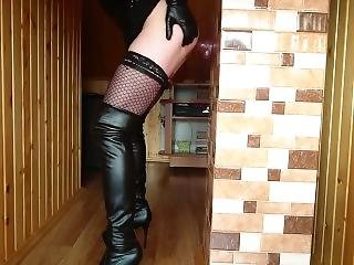 Redhead Cd Fuck Deep Anal Dildo In Tight Latex Dress And High Heels Boots