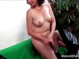Mature Brunette Strips Off For Stud Fuck
