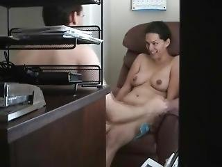 Cheating Couple At The Office. She Loves Sharing Her Hairy Pussy. Legs28