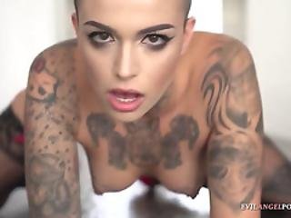 Tattooed Leigh Raven Squirts All Over