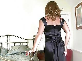 Black, Masturbation, Milf, Satin, Stocking