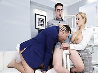 Hot Computer Technician Gets Seduced By Angel Wicky And Her Coworker