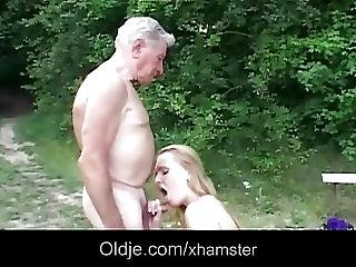 Aged, Big Boob, Blonde, Blowjob, Boob, Grandpa, Juggs, Natural, Outdoor, Young