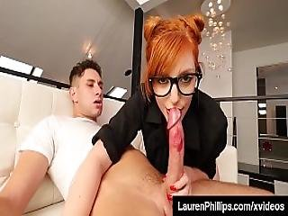 Hot Redhead Lauren Phillips Blows Cock In Sexy Red Lipstick