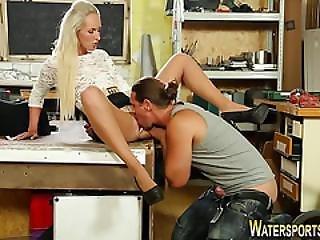Fetish Slut Gets Urinated