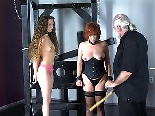 Cute Brunette In Corset Is Restrained By Master Before Hard Spanking Play?s=10
