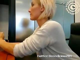 amateur, au travail, gros téton, blonde, webcam