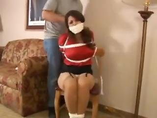 Busty Girl Wrap Gagged And Exposed