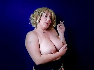 Milf Smoking Cigarettes Topless Big Boobs