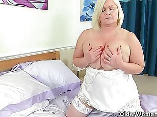 British, Dildo, Fucking, Grandma, Lace, Mature, Milf, Pussy, Stocking