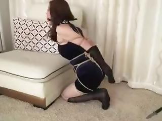asiática, bondage, fetishe