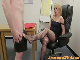 Cfnm Fetish Babe Gives Sloppy Foot Job