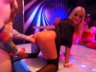 Sexy club babes fucking big dicks in public
