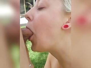 Teen Milf Deep Throats Fucked Doggy Outside