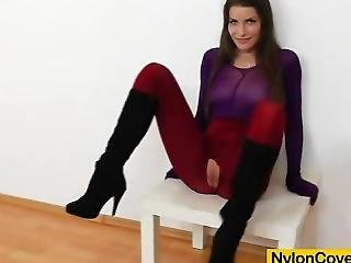 Brunette Covered In Nylons Masturbates In Addition To Sex Toy