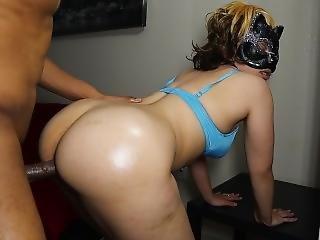 Light Skin Big Booty Chick Gets Smashed By Huge Black Cock W/ Mask On