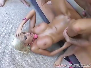 Busty Blonde Slut Gets Smashed Rough And Jizzed On