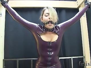 Latex Dress Belt Bound On Sybian