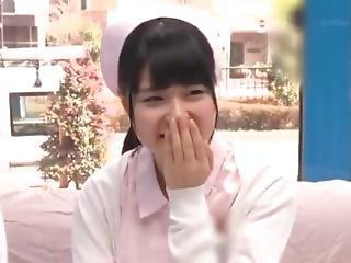 asiático, duro, japonese, enfermera, uniforma