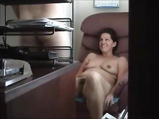 Cheating Couple Getting Naked In The Office. Eating Her Hairy Pussy. Legs28