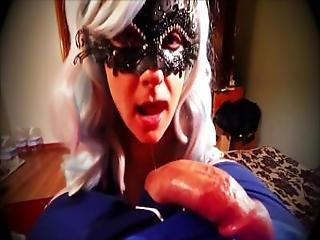 Beautiful Masked Milf Sucking Cock
