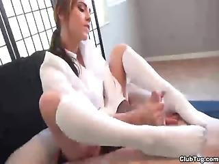 Ct-knee High Socks Handjob