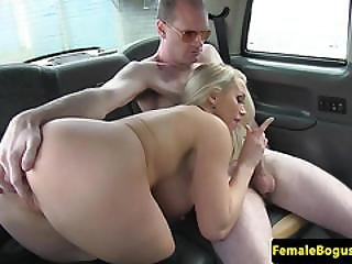 Femdom Cabbie Babe Drilled By Sub Client