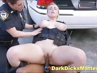 Bisexual Milf Policewomen Fucking Criminal With Huge Black Weapon