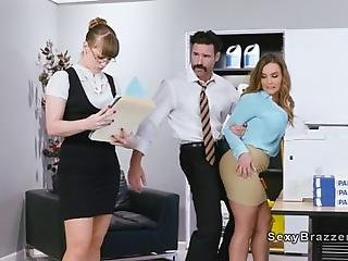 Boss Charles Dera Flirts With New Co Worker Natasha Nice In Tight Short Skirt And Grabs Her Ass And Big Tits From Behind Then Fucks Her Throat And Pussy And Huge Tits In Office