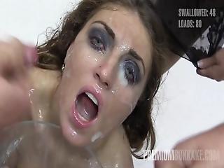 Premium Bukkake   Nona Swallows 50 Huge Mouthful Cum Loads