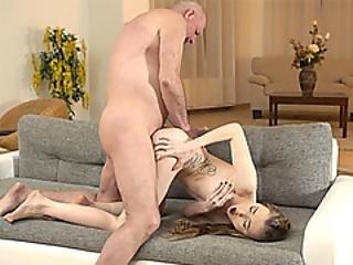 Skinny Teen Fucks The Handsome Dad Of Her Boyfriend