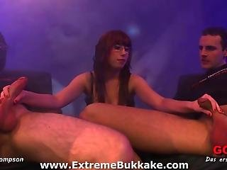 Busty Bukkake Babe Fiona Loves To Get Warm Jizz On Her Glasses